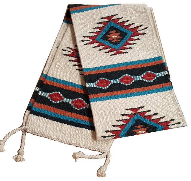 Southwestern Table Runner 33-16X80 Hand Woven Southwest Wool Geometric Design