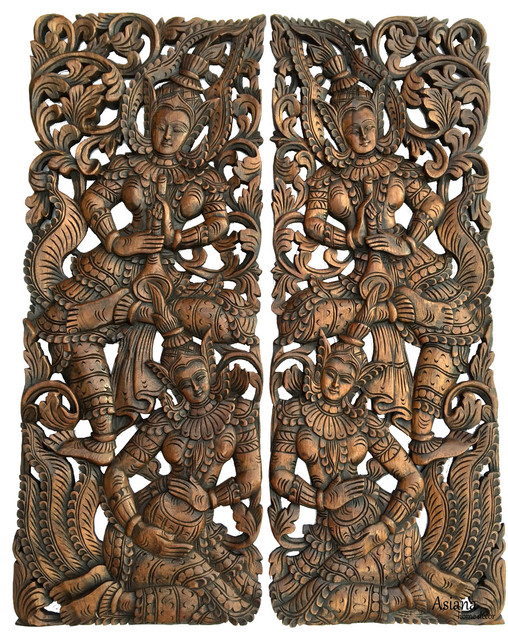 Traditional Thai Figure With Instrument Carved Wood Wall Art Panel Set Of 2