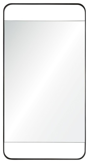 "Lac Wall Mirror With Metal Frame, 20""x38""."