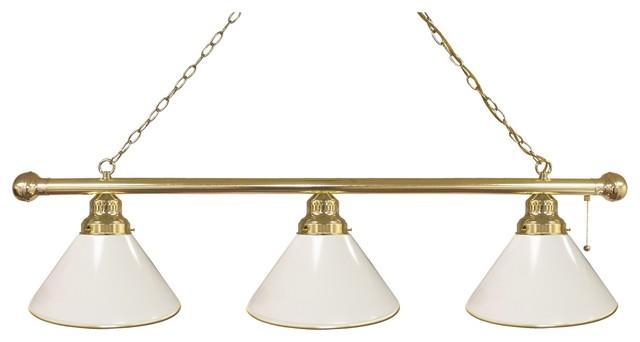 White 3 Shade Billiard Light With Brass Fixture