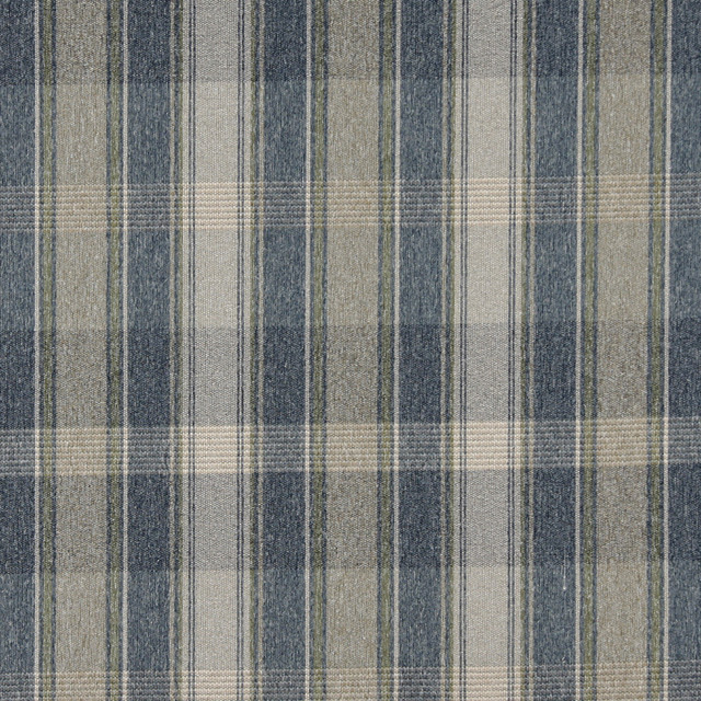 Blue Green And Ivory Large Plaid Country Tweed Upholstery Fabric By