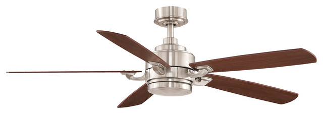 Benito Ceiling Fan Brushed Nickel Reversible Wood Blades