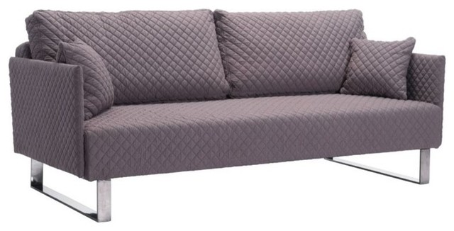 Zuo Pax Linen Quilted Sleeper Sofa in Clay Contemporary