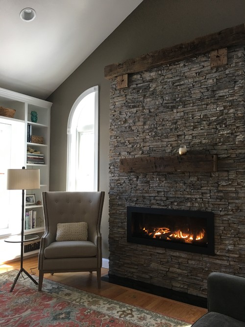 New Nantucket Stacked Stone and Reclaimed Oak Timber Fireplace