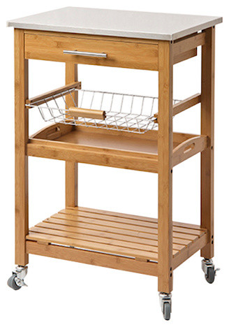 aya bamboo kitchen cart with stainless steel top modern modern stainless steel kitchen cart to create