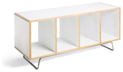 Open Cube Wood Modern Bench with Legs, Bench Box by  Offi, White