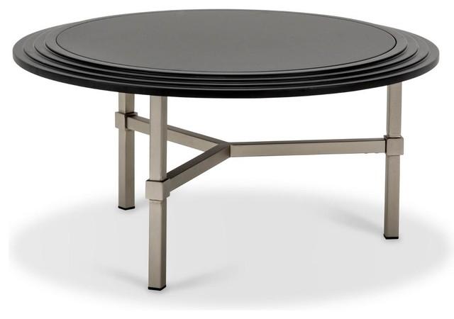 Aico Michael Amini Trance Vortex Round Cocktail Table Black Glass Top Contemporary Coffee