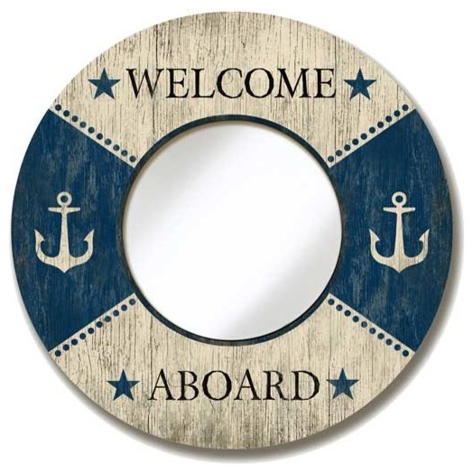 Suzanne Nicoll Welcome Aboard Mirror Sign Beach Style