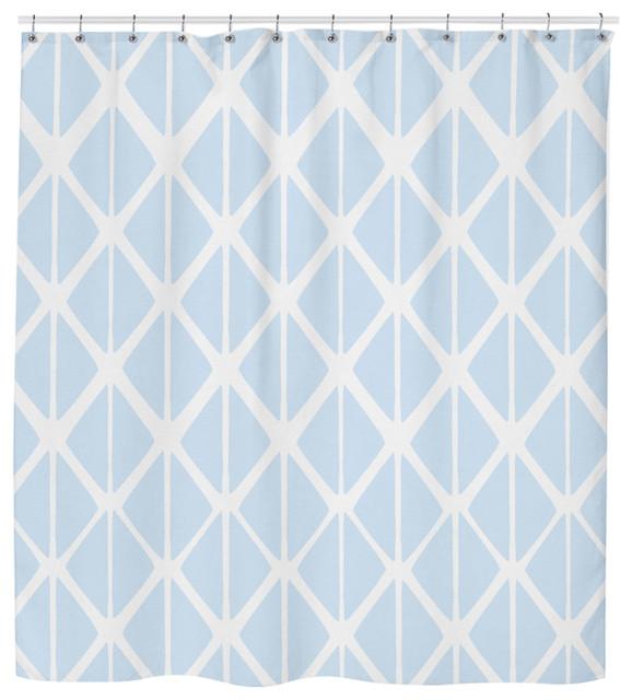 Modern Mint Geometric Neutral Shower Curtain
