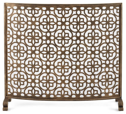 Art Deco Gold Fretwork Single Panel Fire Screen, Curved Midcentury Fireplace.