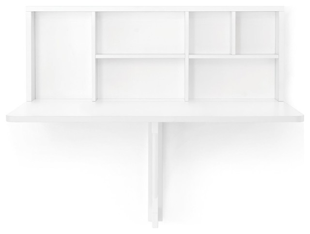 Spacebox Wall-Mounted Folding Table, White.