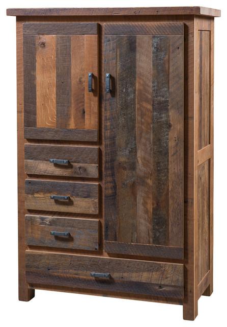 Pioneer 4 Drawer Armoire Reclaimed Barn Wood Rustic Armoires