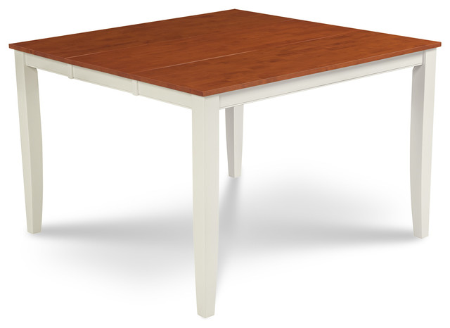 54 Square Counter Height Dining Table With 18 Leaf White And Cherry