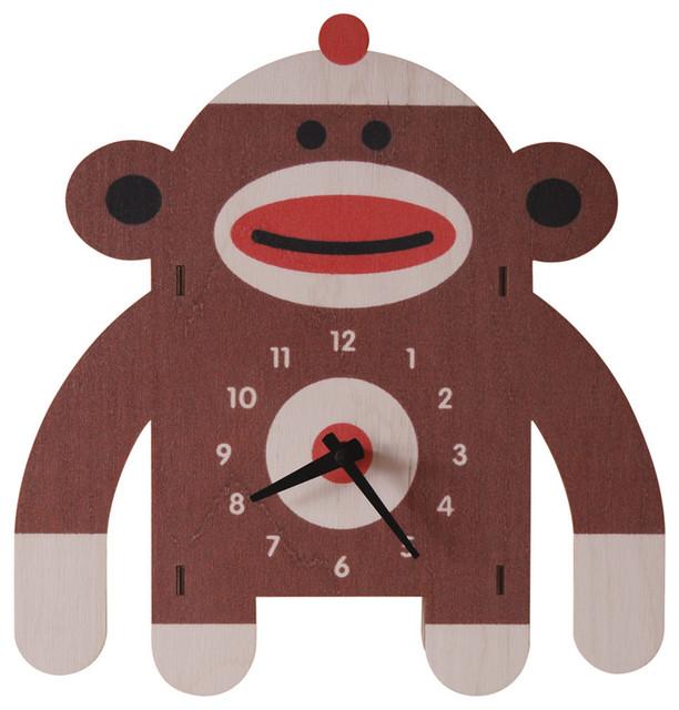Sock Monkey Wall Clock - Contemporary - Kids Clocks - by Modern Moose