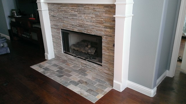 Fireplace mini ledger stone wall brick pattern stone hearth contemporary austin by - Tiling a brick fireplace ...