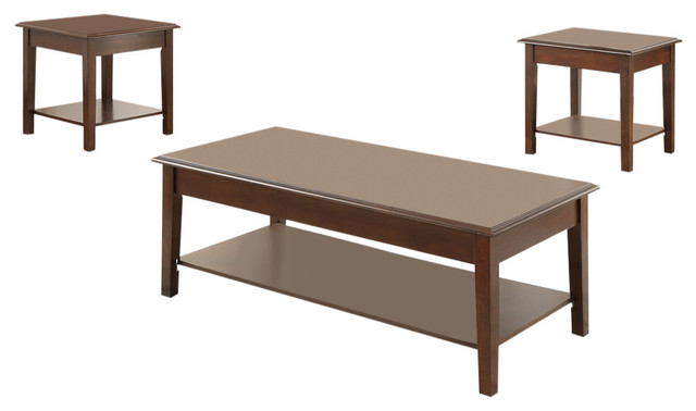 Wooden Top 3-Piece Occasional Table Set, Brown.