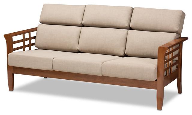Larissa Fabric High Back Cushioned Living Room 3 Seater Sofa Dark Beige