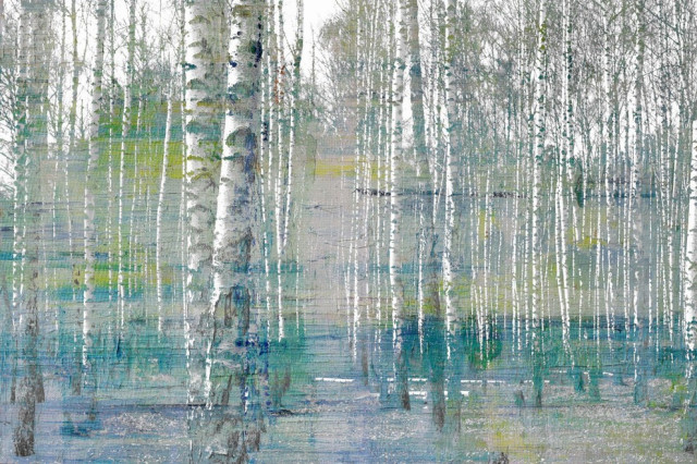 """Teal Tree Forest"" Painting Print on Wrapped Canvas, 36""x24"""