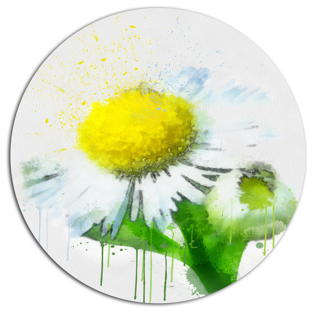 Design Art USA - Yellow Chamomile Sketch Watercolor, Floral Round ...