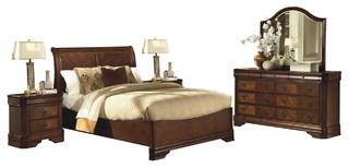 Savona Sleigh 5-Piece Queen Bed, 2 Nightstand, Dresser, Mirror, Cherry