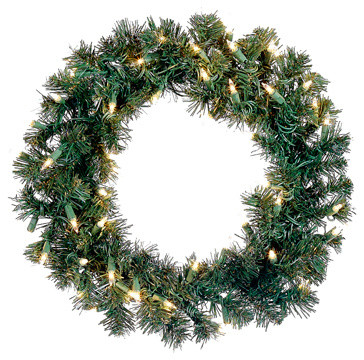 "Pre-Lit Deluxe Windsor Pine Artificial Christmas Wreath, Clear Lights, 18""."