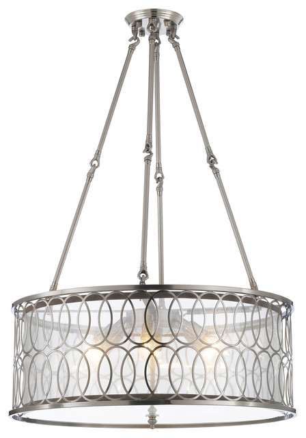 Contemporary Mesh Circle Semi-Flush Mount Fixture.