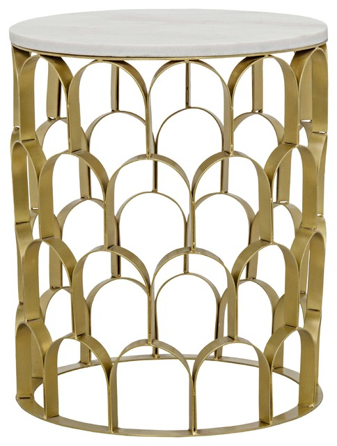 Ryan Hollywood Regency Round White Stone Gold Antique Brass Metal Side End  Table