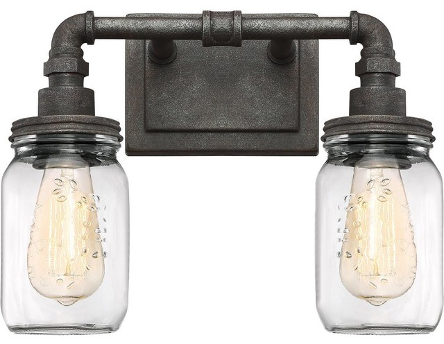Squire - RK Rustic Black Finish, Bath Fixture With 2 Lights