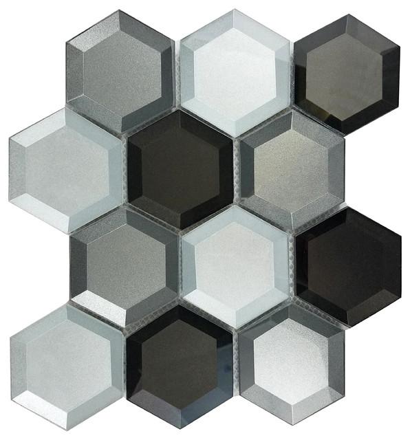 """10.25""""x11"""" Bronze Silver Gray 3D Hexagon Mosaic Glass Tile ..."""