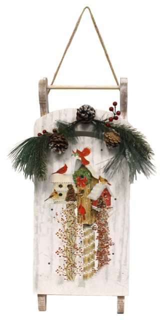 Stony Creek Wooden Sled With Applique Timer Decorative Plaques