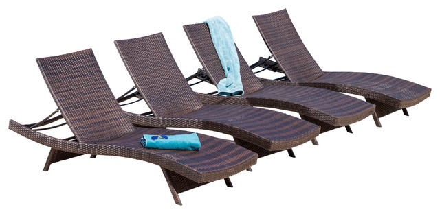 Lakeport Outdoor Adjustable Chaise Lounge Chairs Set of 4 contemporary-outdoor-lounge-  sc 1 st  Houzz : chaise lounge set - Sectionals, Sofas & Couches