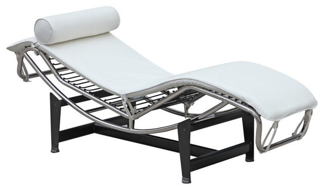 Fine Mod Imports Adjustable Chaise, White.