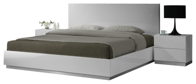 J M Naples Glossy White Lacquer Finish Queen Size Bedroom Set Modern Beds By Nationwide