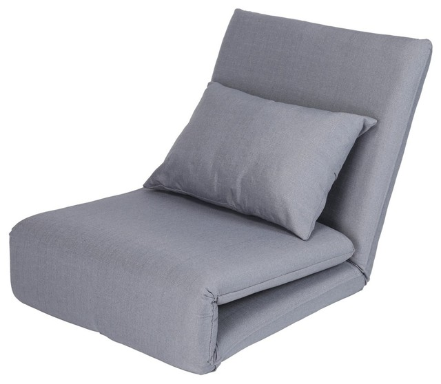 Relaxie Linen 5-Position Convertible Flip Chair/ Sleeper Lounger Sofa, Grey by Inspired Home
