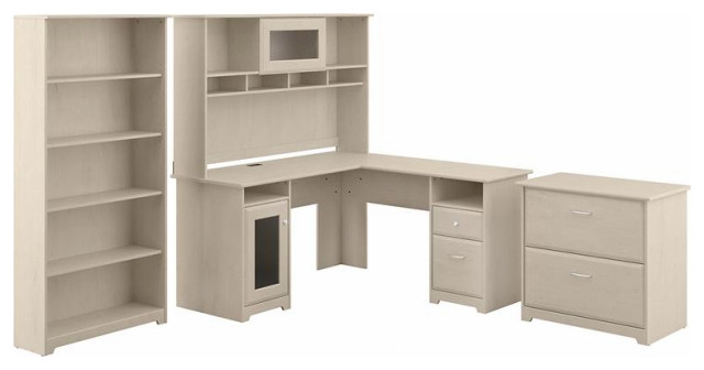 Saratoga L Shaped Computer Desk and Two 5 Shelf Bookcases in Harvest Cherry