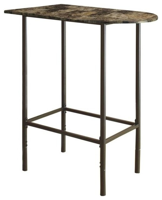 Monarch Faux Marble Top Metal Pub Table, Cappuccino Transitional Indoor Pub  And