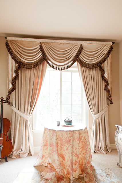 Pearl Dahlia Elegant Designer Valance Curtains With Swags And Tails By Celuce Traditional