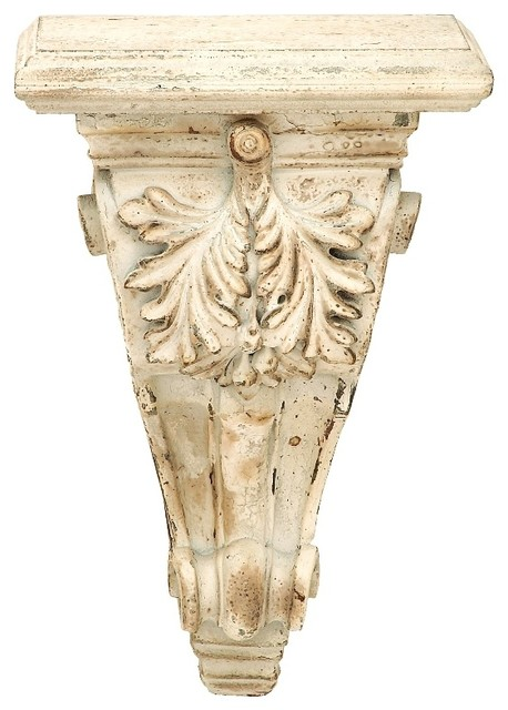 Victorian wall sconce shelf floral carved corbel distressed beige decor 69280 victorian - Decorative wall sconce ...