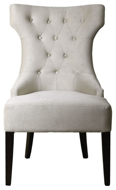 Clic White Velvet Tufted Wing Chair Plush Contemporary