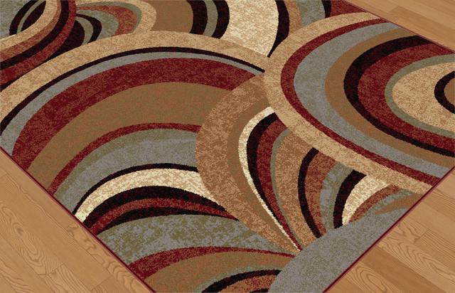 Richmond Contemporary Abstract Brown Runner Rug, 2.7&x27; X 7&x27;.