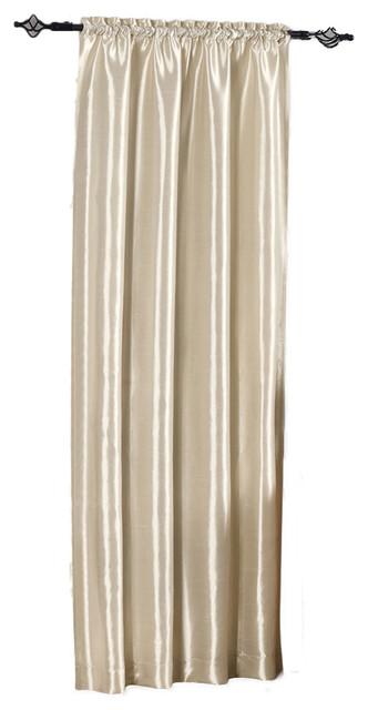 "Soho Faux Silk Single Rod Pocket Window Panel, Ivory, 42""x63"""