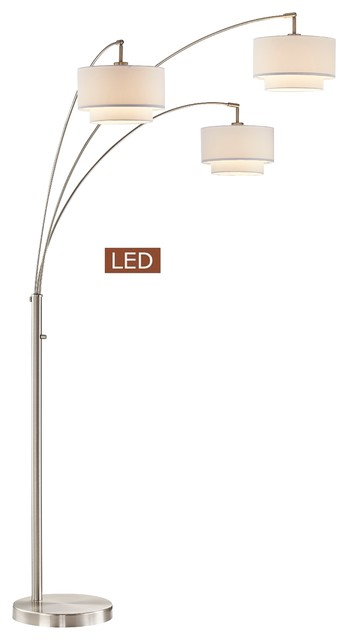 Lumiereiii Led Arched Floor Lamp Double Layer Shade Dimmer Brushed Nickel 80
