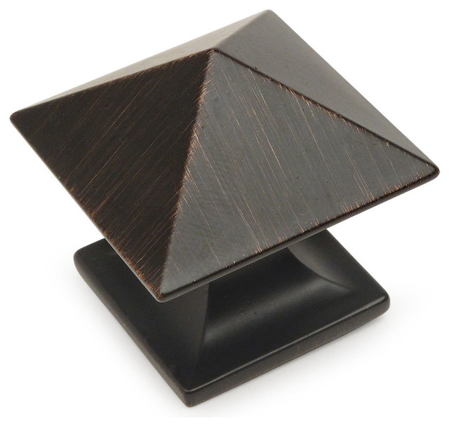 5 Pack Cosmas 6377ORB-C Oil Rubbed Bronze Cabinet Hardware Square Knob with Clear Glass 1-3//8 Square
