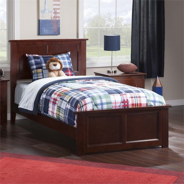 Madison Twin Xl Bed With Matching Foot Board In Walnut.