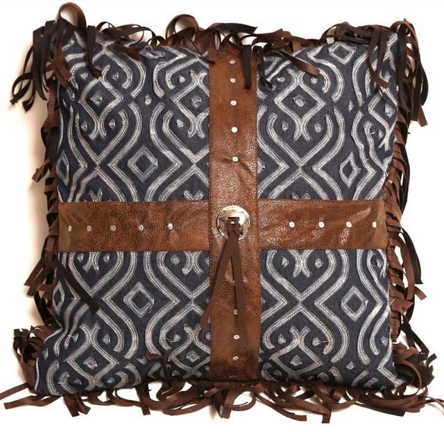Decorative Denim Pillows : Denim Applique Cross Pillow - Southwestern - Decorative Pillows - by Carstens