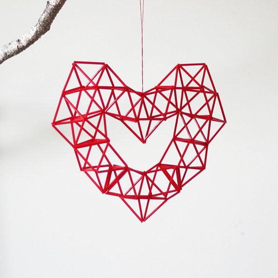Modern Mobile Red Heart Himmeli by AMradio
