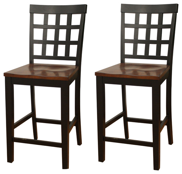 American Heritage Mia Square Block Back Counter Height Dining Chairs, Set  Of 2