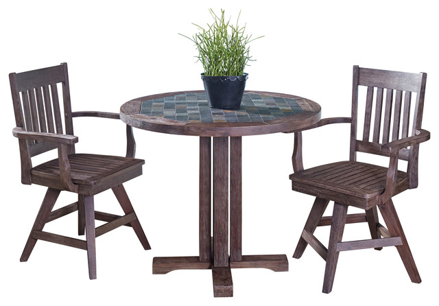 Morocco 3-Piece Indoor/Outdoor Dining Set With Swivel