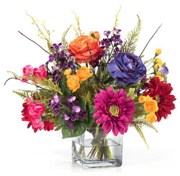 Festive mood silk flower centerpiece contemporary artificial festive mood silk flower centerpiece mightylinksfo