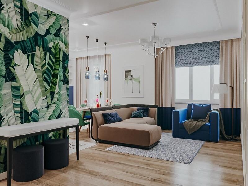 Современный проект квартиры с кухней-гостиной